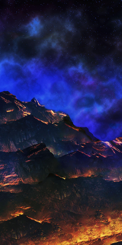 Artwork Mountains Dark 1440x2880 Wallpaper Phong Backgrounds