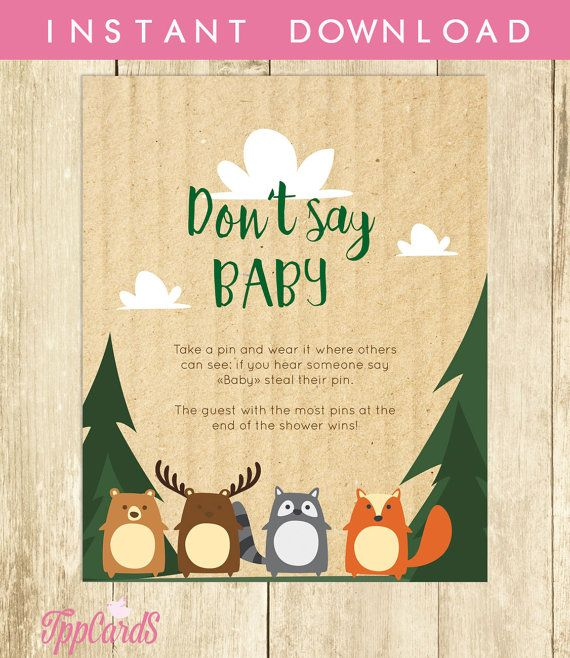 Baby Shower Clothes Pin Game Don't Say Baby Game Baby Shower Games Printable Woodland Don't Say