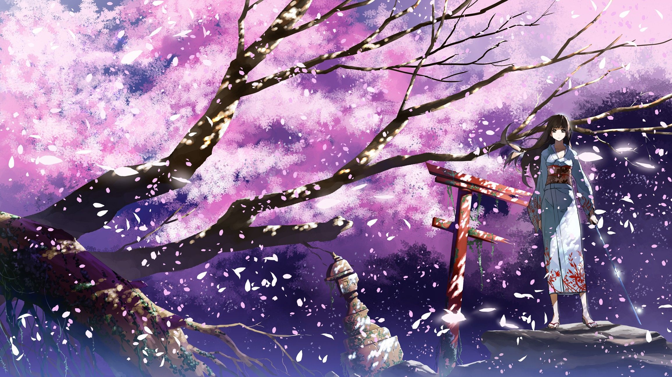 Anime wallpaper 2309x1298 brunettes cherry blossoms katana - Anime cherry blossom wallpaper ...