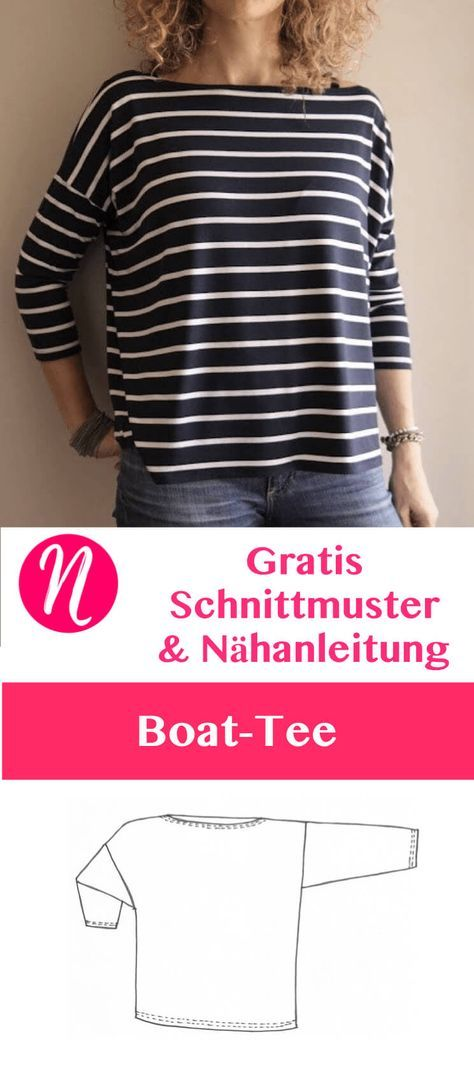 Oversized shirt with a boat neckline – free sewing pattern tip | Nähtalente