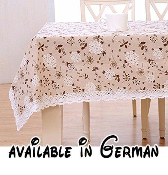 B077P62WNM : WFLJL Tischdecke Im Chinesischen Stil Klassik Couchtisch  Baumwolle Und Leinen Decken Tuch Rechteck Wohnzimmer Esstisch Weiß  Löwenzahn U2026