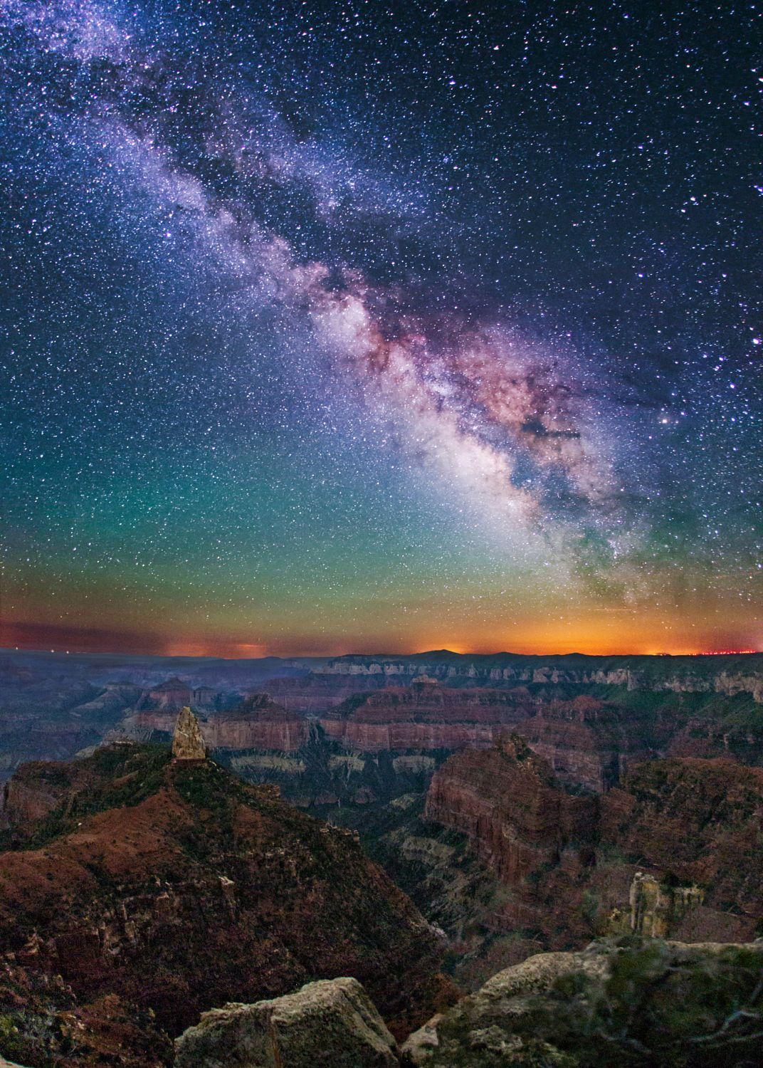 Imperial Point Milky Way Grand Canyon By Wayne Pinkston