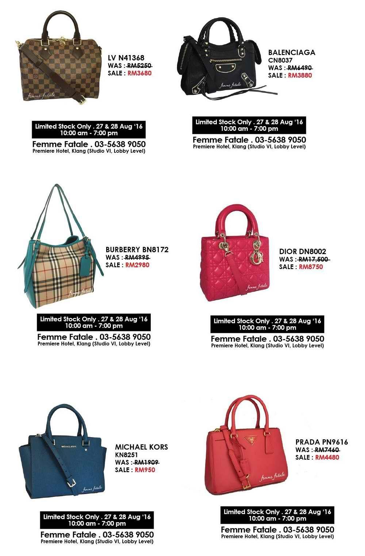 ec092ae1c1a8 27-28 Aug 2016  Femme Fatale Boutique Branded Bag Clearance Sale ...