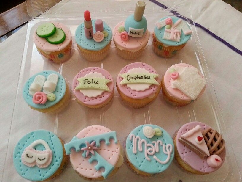 Spa cupcakes Katelins Birthday Party Pinterest Spa cupcakes