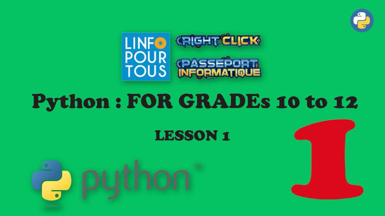 Python Lesson 1 for Grades 10 to 12 in 2020 Lesson