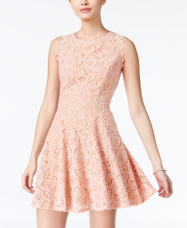 c090050b9cff City Studios Juniors' Lace Fit & Flare Dress Juniors - Dresses - Macy's