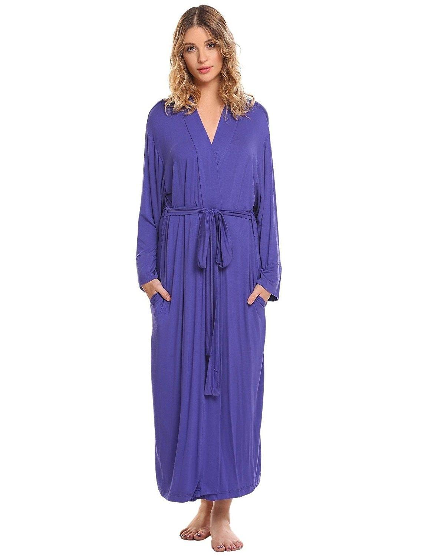 Women s Long Soft Kimono Robes Knit Bathrobe Comfort Sleepwear ... 2dba6af63