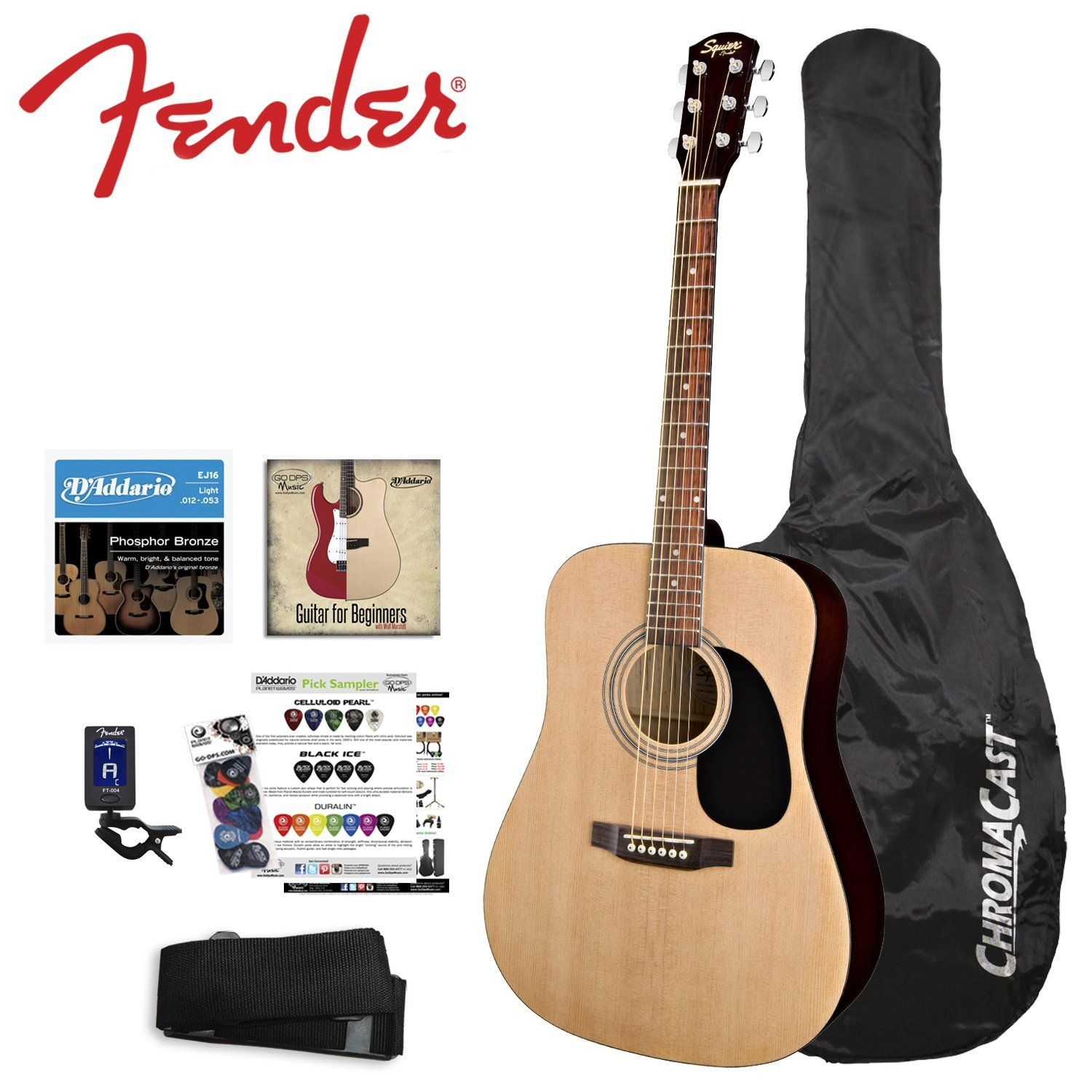 Fender Natural Acoustic Guitar Kit Includes Strings Strap Tuner Chromacast Guitar Bag And Godpsmusic Pick Sam Guitar Bag Acoustic Guitar Kits Guitar Kits
