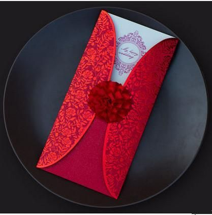 50 Pieces 3D Laser-cut Invitation Card-Cards-Unknown-TouchyStyle free shipping Red Elegant Flower Wedding Invitations 3D Laser-cut Invitation Card with ...