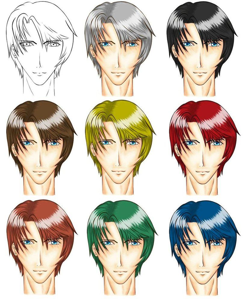 8 Hair Colours On Anime Male