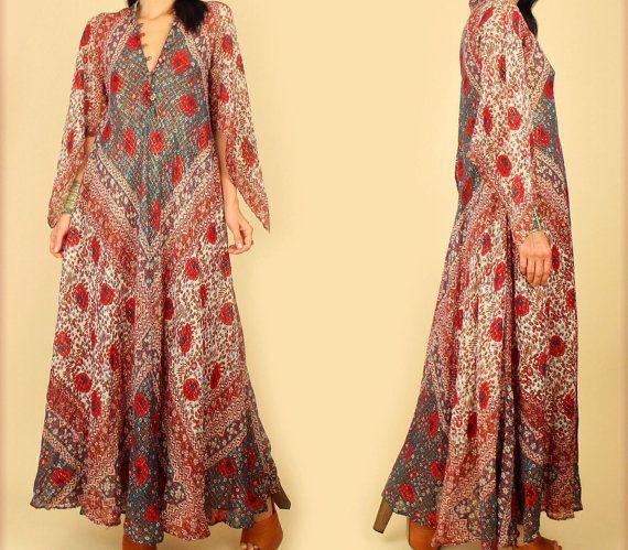 6753bf84b1 ViNtAgE 70's ADINI SULTANA Indian Cotton gauze Maxi Dress RARE Floral India  70's Bohemian Maxi Hippie BoHo Festival One size s/m/l/xl