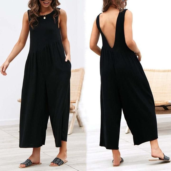 Sexy Backless Lose Wide Leg Jumpsuit