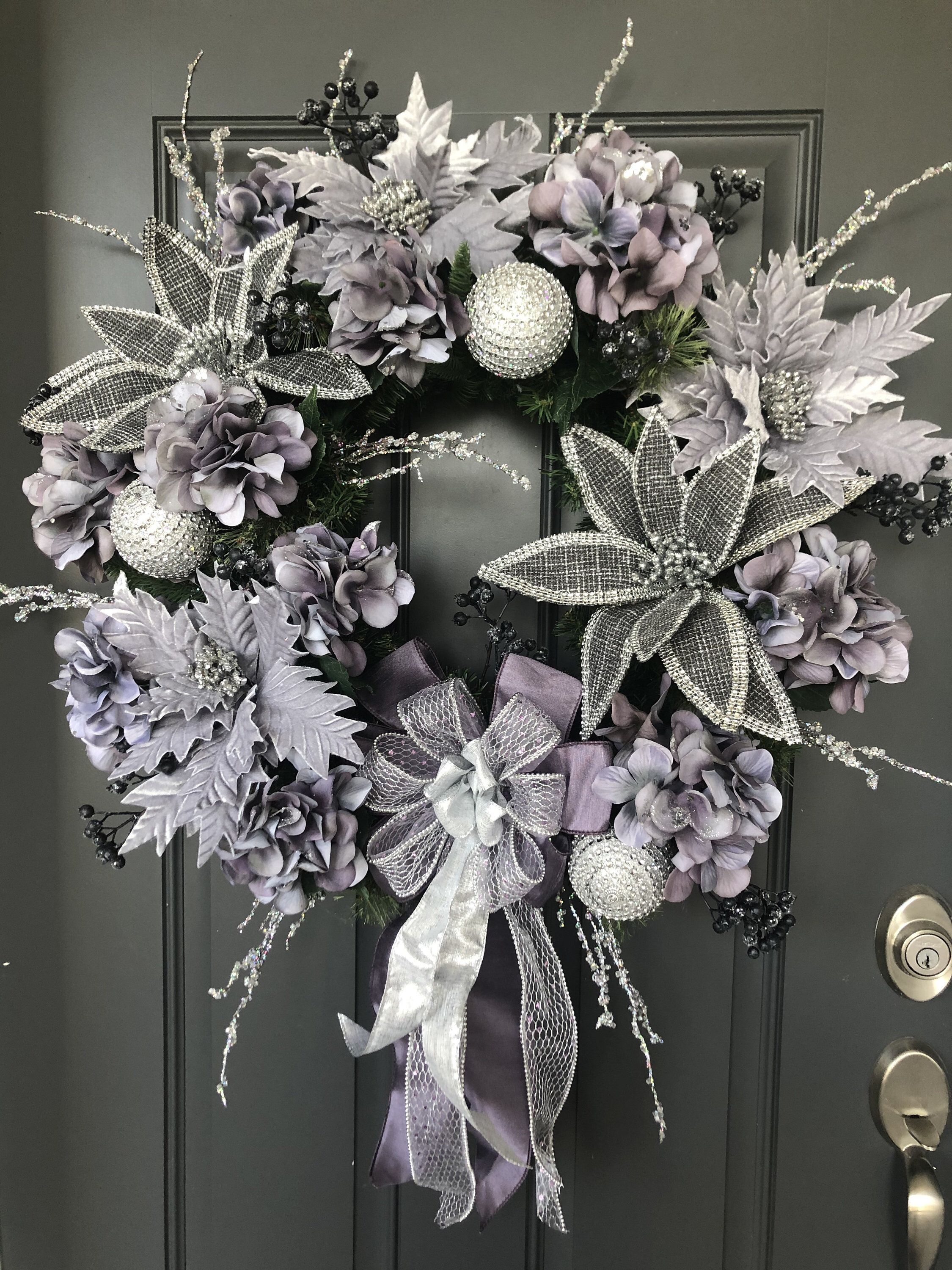 Purple and Silver Christmas wreath/Poinsettia Holiday