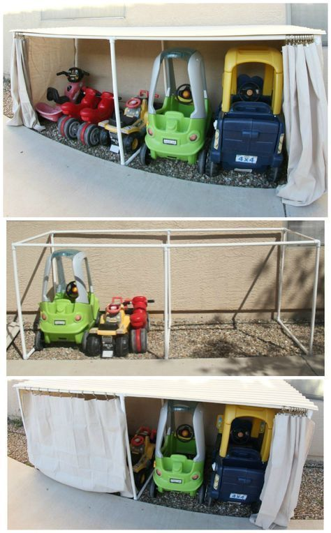 DIY überdachte Kiddie Car Parking Garage ~ Spielzeugorganisation im Freien Source by nerdyma...#car #diy #freien #garage #kiddie #nerdyma #parking #source #spielzeugorganisation #überdachte