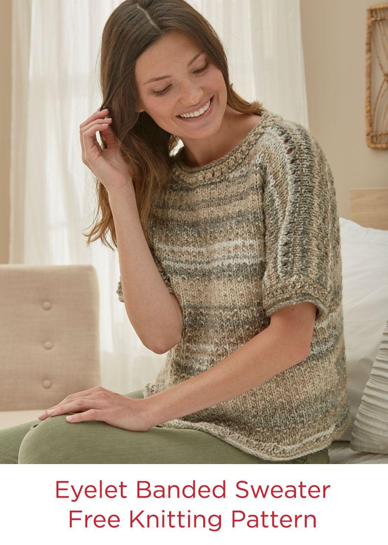 Eyelet Sweater Free Knitting Pattern Red Heart Yarns Hopscotch ...
