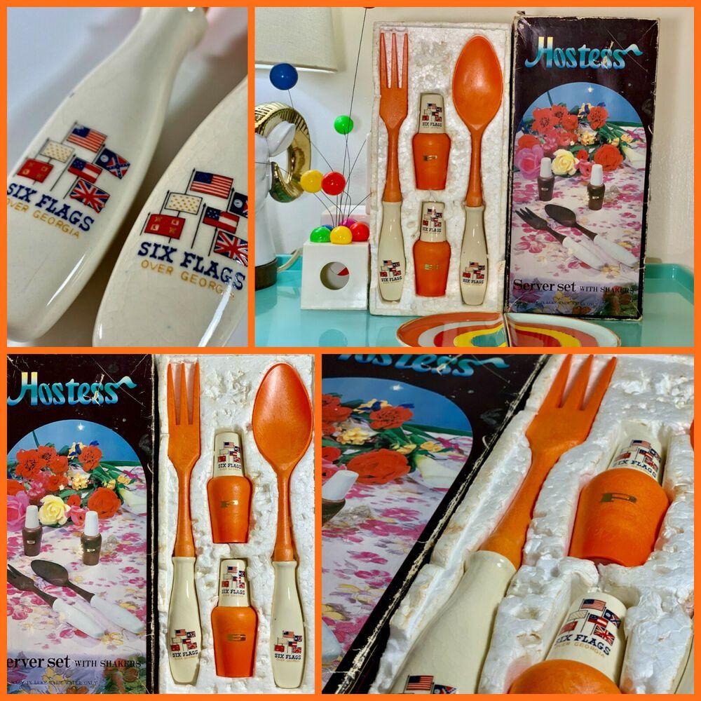 Vintage 1960s Retro Hostess Gift Server Shakers Six Flags Souvenir Matera Hakusan Japan NOS