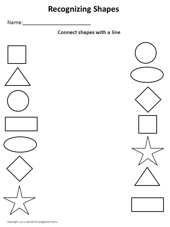 Printable kindergarten worksheets worksheets for for Shape tracing templates