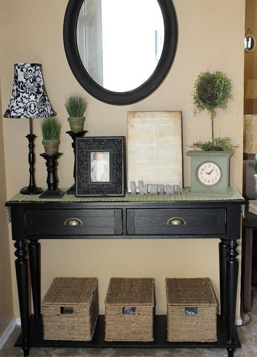 Entryway Decorations Paint My Old Sofa Table Black And Put Across From Front Door By Book Shelves
