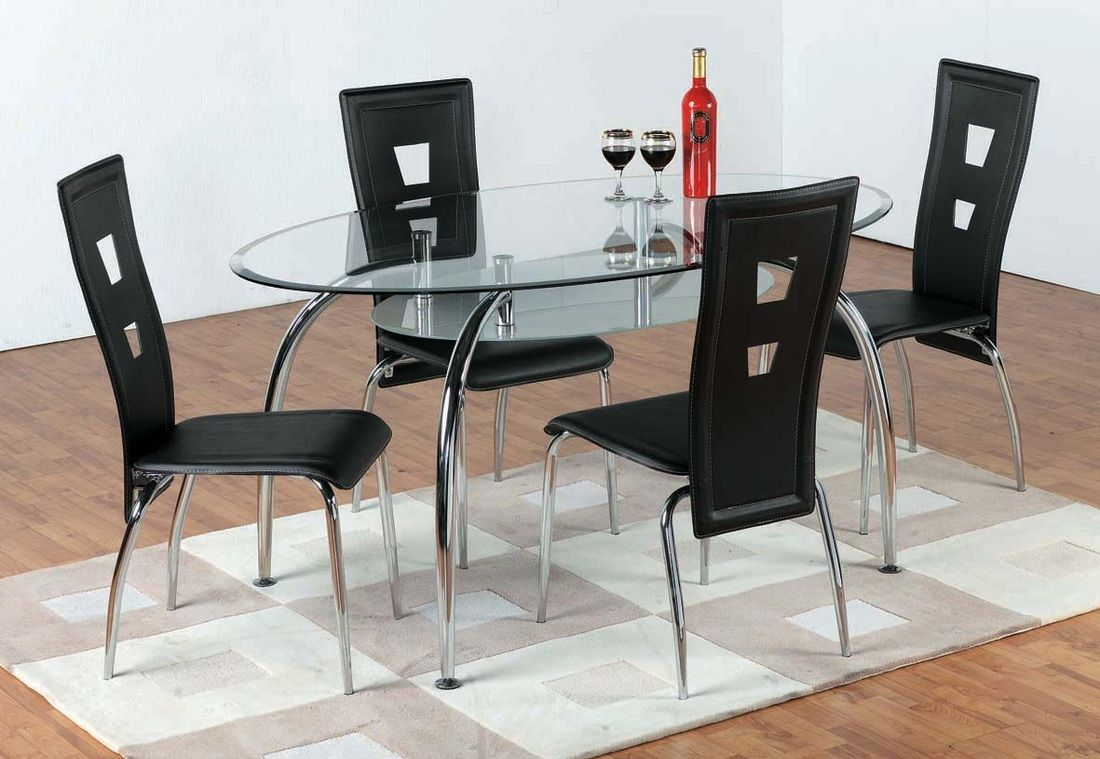 Caravelle black oval glass dining table set