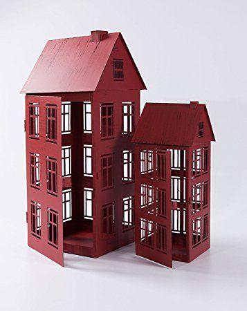 Laternen Haus Weiß Rot Windlicht Haus Metalllaterne 13.5*13.5*32.5 Rot