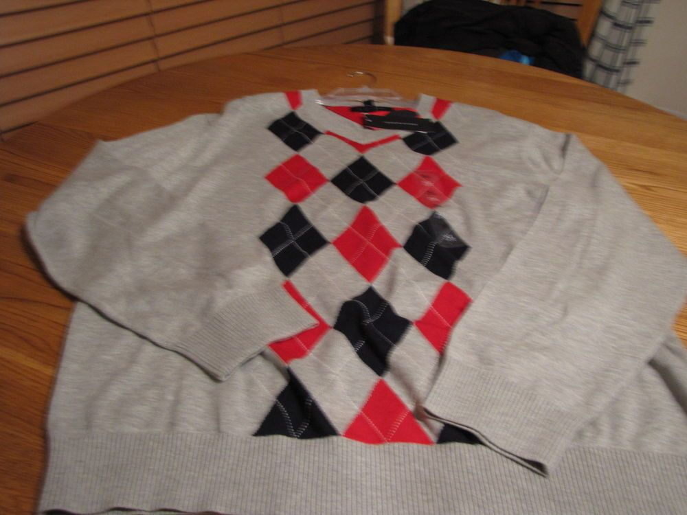 Men's Tommy Hilfiger long sleeve sweater pull over grey pattern NEW XL $79.50 #TommyHilfiger #sweater