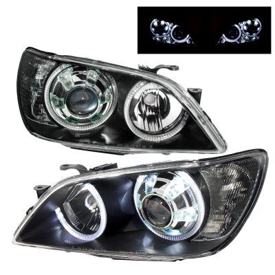 Lexus IS300 2001-2005 Black Projector Headlights Dual Halo LED #lexusis300