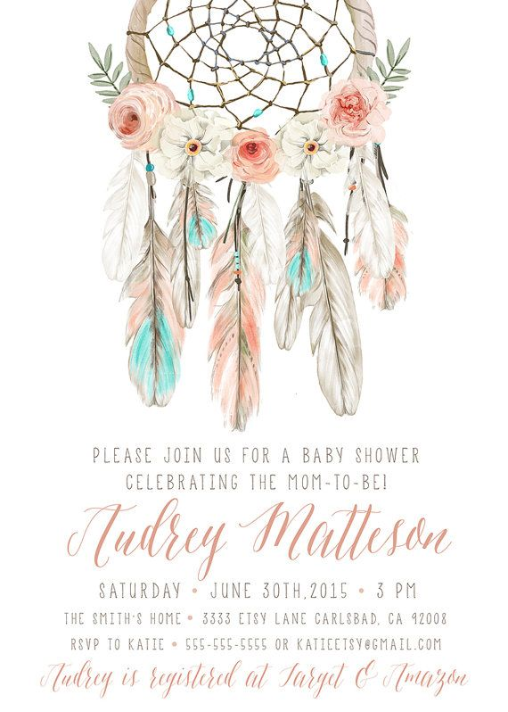 boho baby shower invitation girl dream catcher feather flower