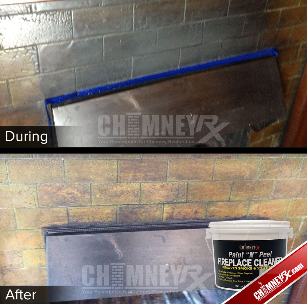 Smoke Stains On A Fireplace During And After Being Cleaned With Paint N Peel Fireplace Cleaner Cleaning Fireplace Cleaner Repair