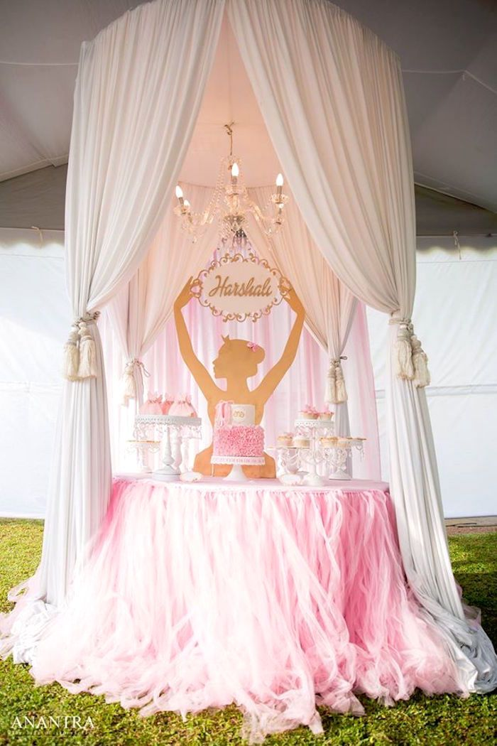 Ballerina Dessert Table From An Elegant Ballerina Birthday