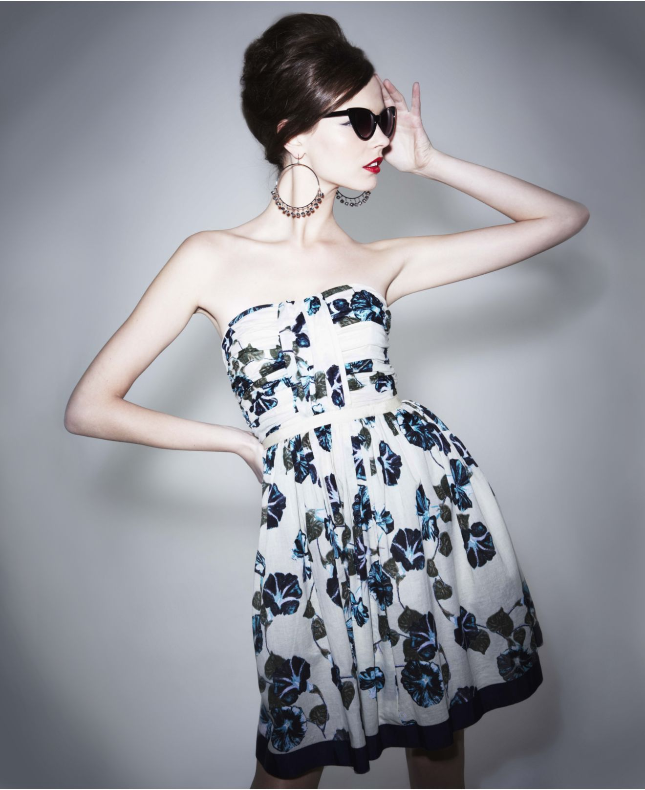 Alberta Ferretti for Impulse Dress, Strapless Sweetheart Pleated Floral Printed A Line