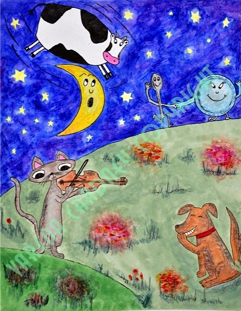 Hey diddle diddle, The Cat and the fiddle, The Cow jumped over the moon. The little Dog laughed, To see such sport, And the Dish ran away with the Spoon.