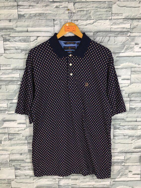 adb8ef109 TOMMY HILFIGER Polo Shirt Men XLarge Hip Hop Vintage 90's Tommy Hilfiger  Diamond Styles Printed Tomm