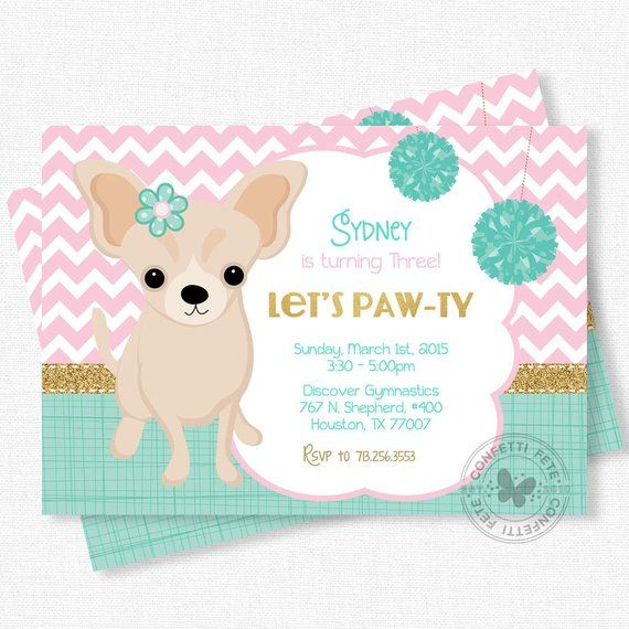 Puppy Party Invitation Dog Birthday Chihuahua Pink Teal And Gold Girl Birt