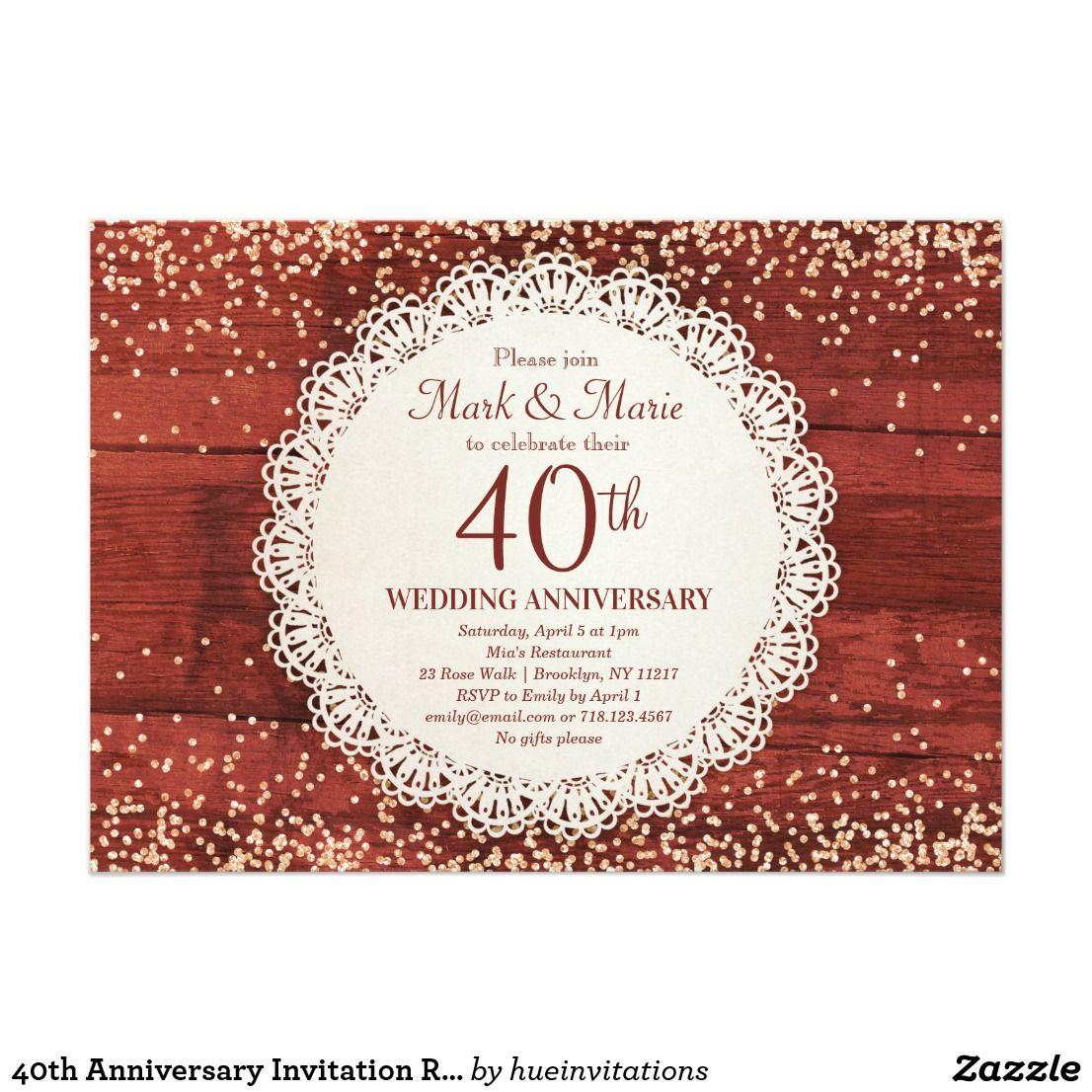 40th Anniversary Invitation Red Ruby Anniversary | Hue Invitations ...