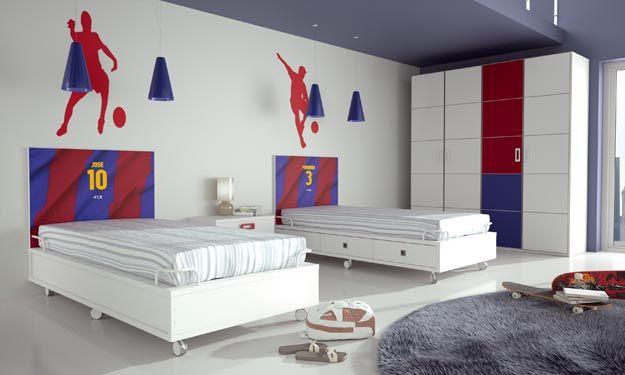FC Barcelona bedroom for two kids - Jongenskamer | Pinterest ...