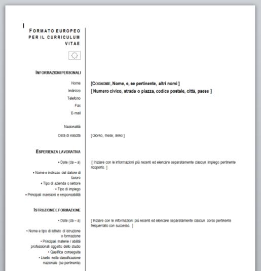 Curriculum Vitae Europeo Da Compilare Curriculum Vitae