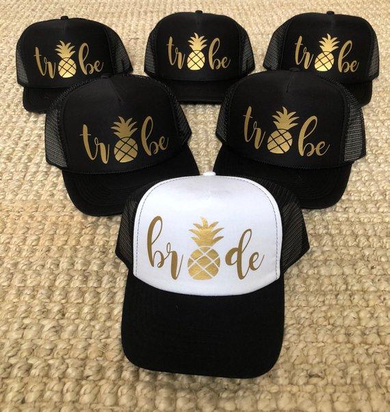 2c194545d34 BRIDE TRIBE / PINEAPPLE / bachelorette party hats / black ...