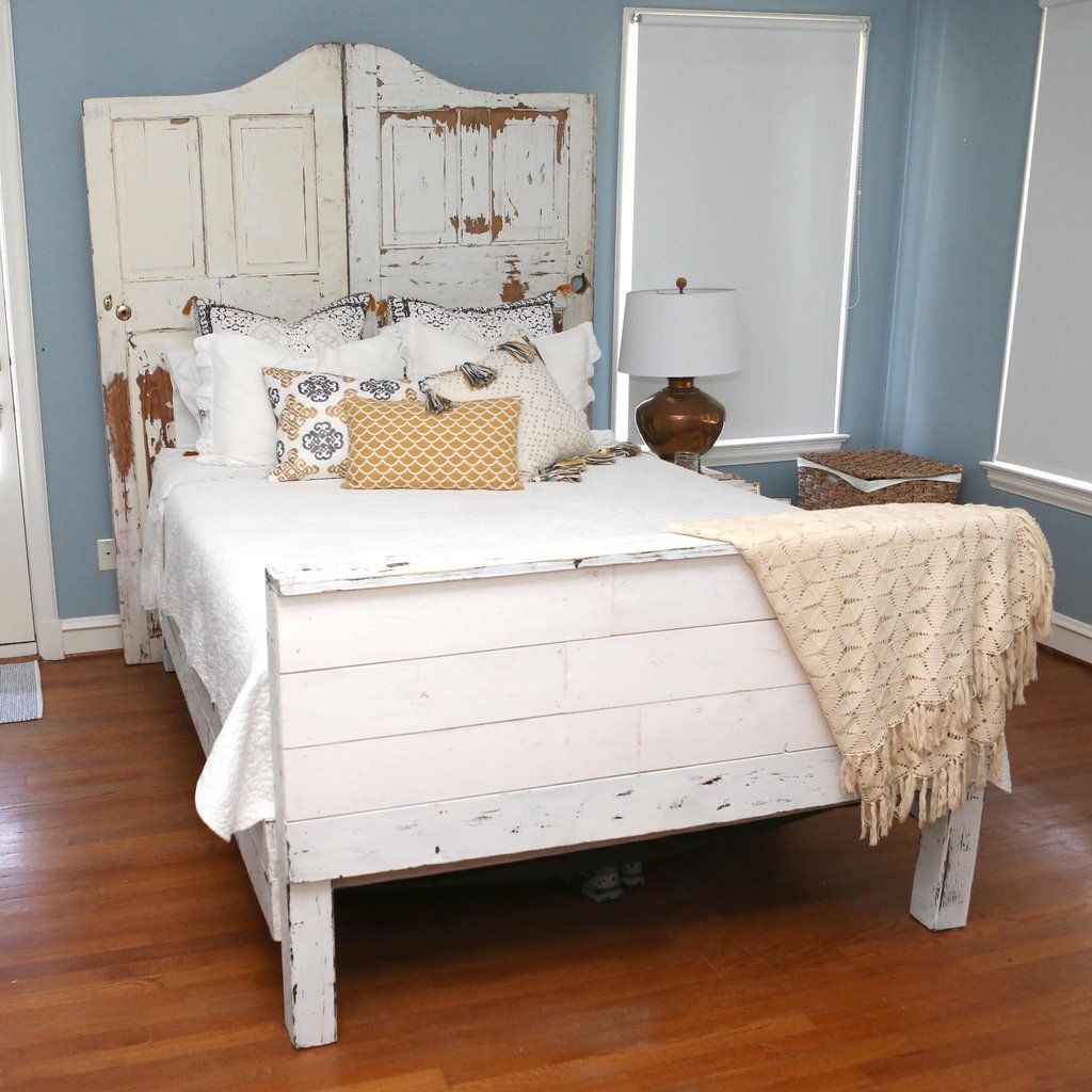 Reclaimed Waco custom wood bed frame with carved door headboard ...