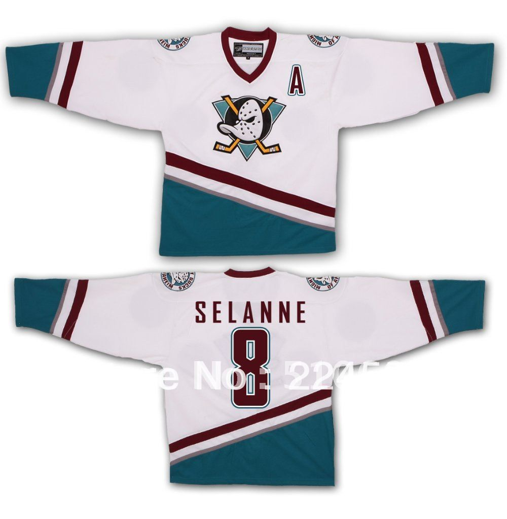 Find More Sports Jerseys Information about Wholesale Halloween costumes  Teemu Selanne  8 The Mighty Ducks of Anaheim Ice Hockey Jerseys hockey  shirt 280edab87