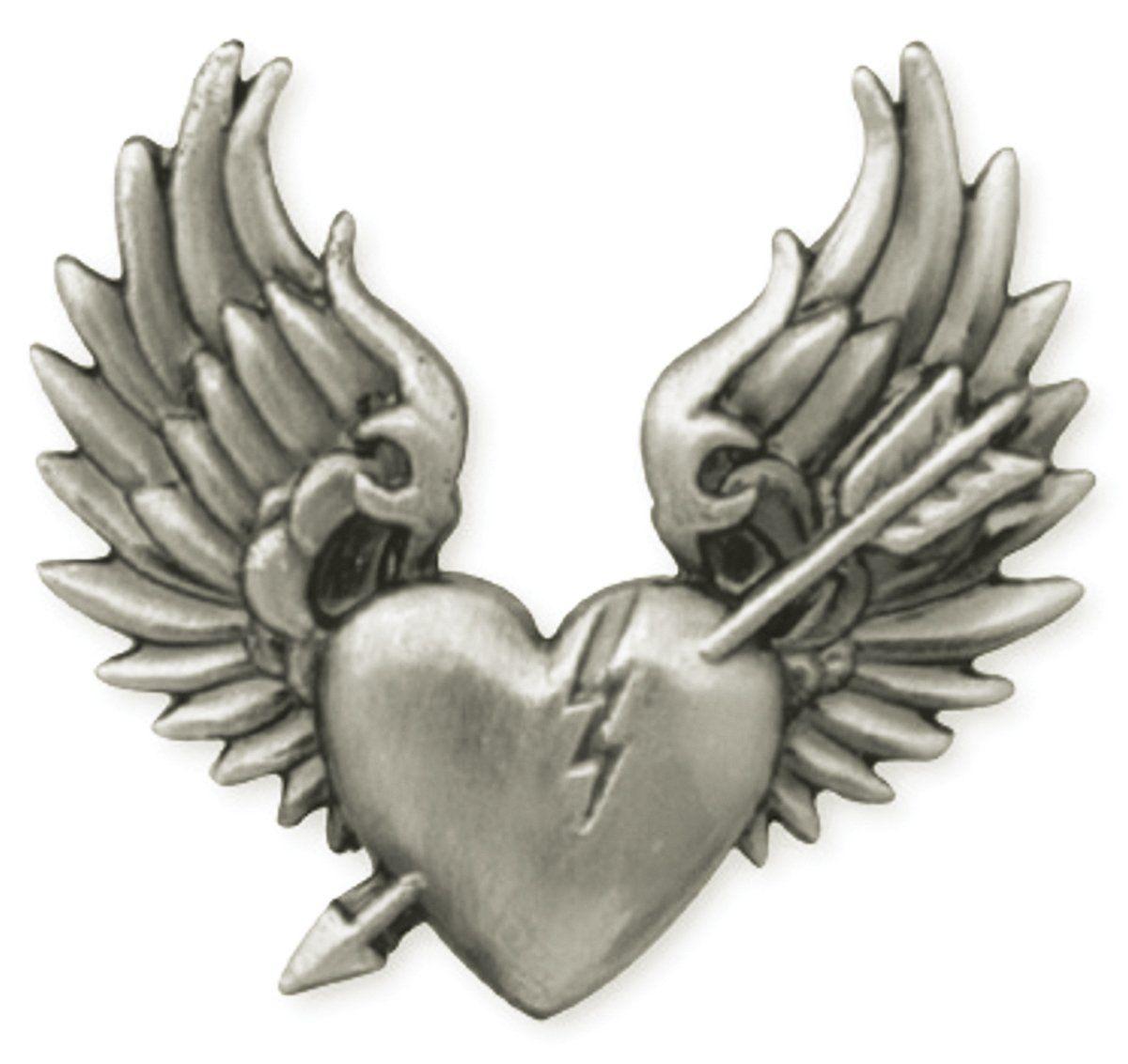 """Concho 1-1/4"""" Antique Silver 1/Pkg-Broken Heart"""