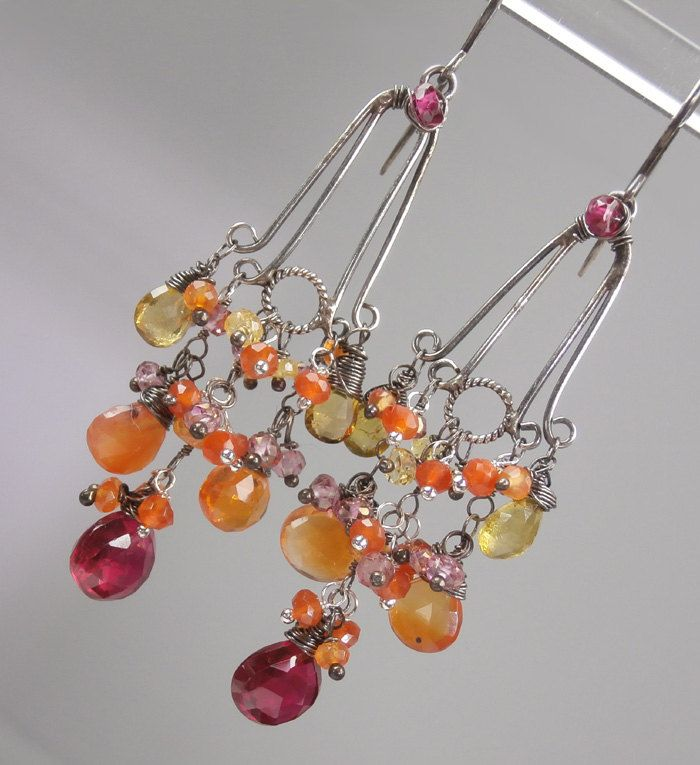 SALE - Ruby Earrings Long Oxidized Silver Chandelier Earrings Wire ...