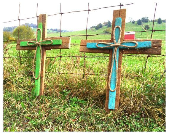 These wooden crosses are made from our very own tobacco sticks and measure 14 1/2in x 20in. They are made to hang on a wall (there is a nail hanger