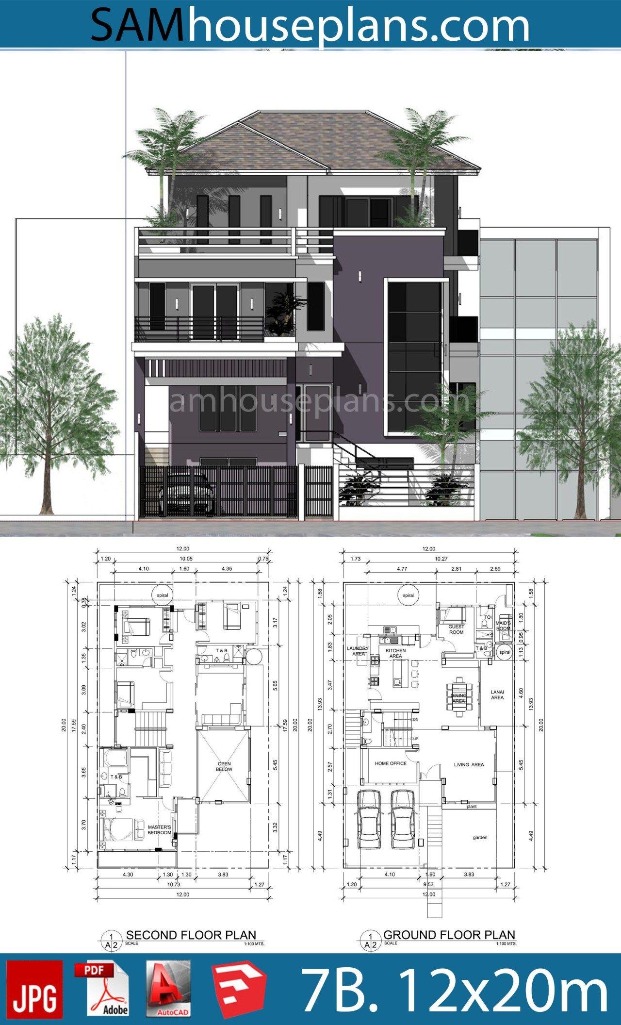 House Plans 12mx20m With 7 Bedrooms Sam House Plans My House Plans Bungalow House Design Duplex House Design