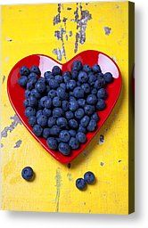 Red Heart Plate With Blueberries Photograph by Garry Gay