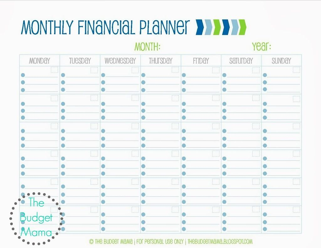 monthly expense calendar