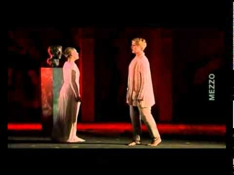 Mireille Delunsch​ French Soprano As Poppea & Anne Sofie von Otter Swedish As Neron Lyric Mezzo soprano  Aria Duet  Pur Ti Miro Pur Ti Godo Pur ti (While Look You .While you enjoy)  L'incoronazione di Poppea (The Coronation of Poppea) Serious Opera By Claudio Monteverdi Marc Minkowski Conductor Orchestra -Festival d'Aix-en Provence, Théâtre de l'Archevêché, (Festival of Aix en Provence, Theatre of the Archdiocese, ) At 2000 -