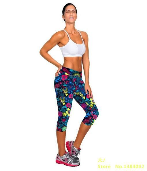 New Brand Capri Sports Leggings High Waist Floral Printing Pants Lady's Fitness Workout Casual Pants Gym Wear 22 Color K058