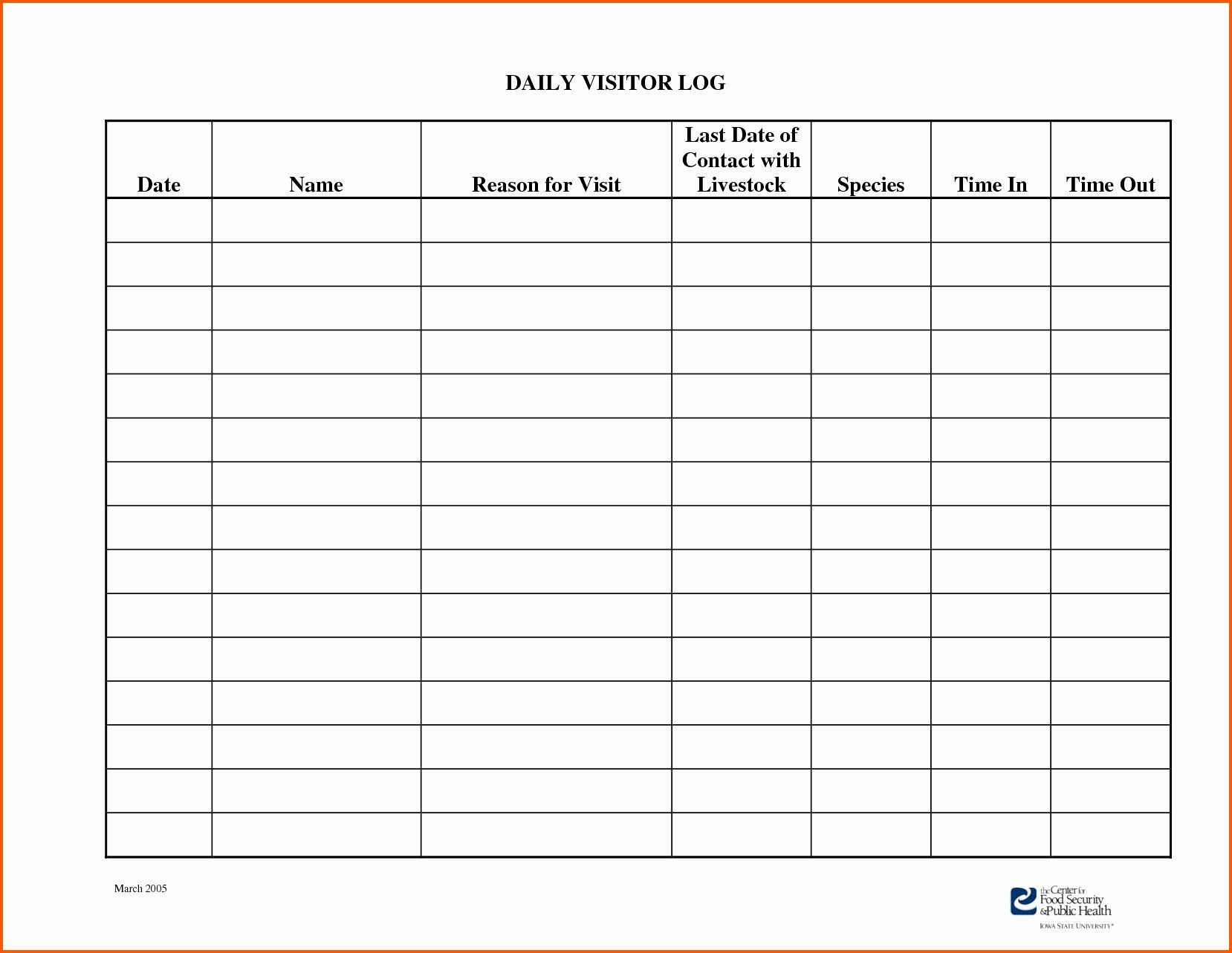 Visitor Log In Sheet Template In 2020 Sign In Sheet Template