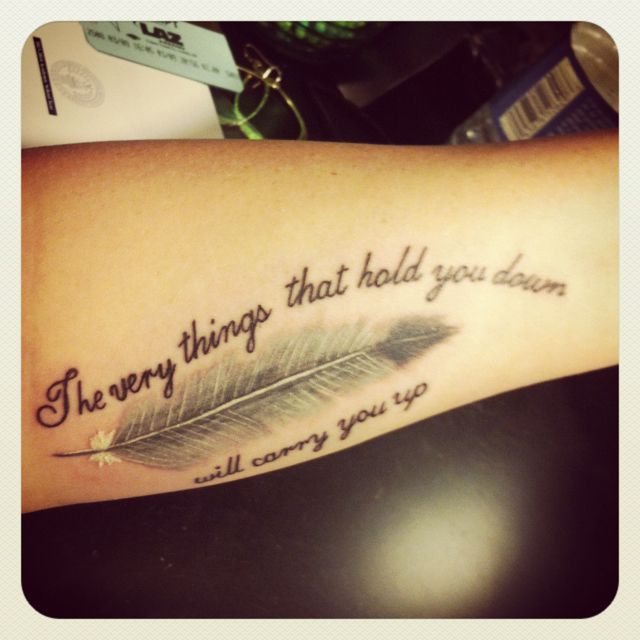 Small Feather Tattoos With Quotes Quotesgram: Dumbo Quote Shortened And His Magic Feather (: