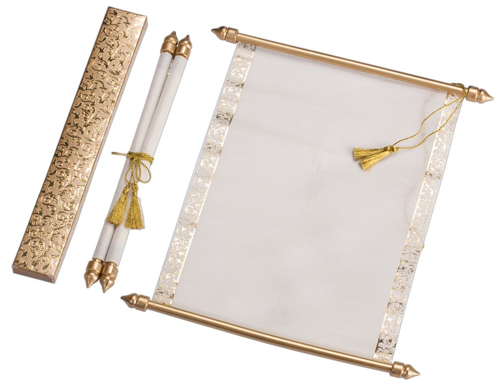 S884 Gold Color Shimmery Finish Paper Scroll Invitations Jewish Anniversary Indian Wedding
